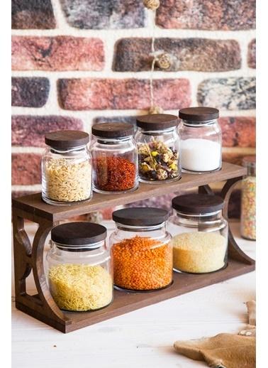 Joy Kitchen  Ahşap Shelfy 7'Li Kavanoz Seti Oval Venge Renkli 3O4K Renkli